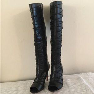 Vince Camuto black peep toe leather boots